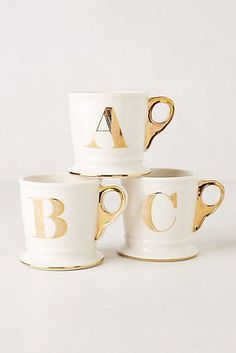 pretty monogrammed gold mugs from Anthropologie