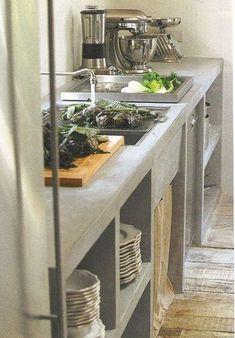 trendy kitchen industrial look concrete countertops Outdoor Kitchen Countertops, Concrete Kitchen, Concrete Countertops, Kitchen Flooring, Diy Concrete, Country Kitchen Designs, Rustic Kitchen, New Kitchen, Kitchen Decor