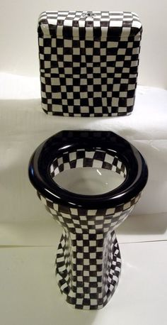 Pretty Toilets | How cool is this monochrome checkered board toilet pot?
