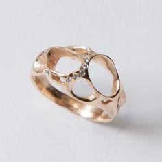 14K Gold and Diamonds ring by doronmerav on Etsy.