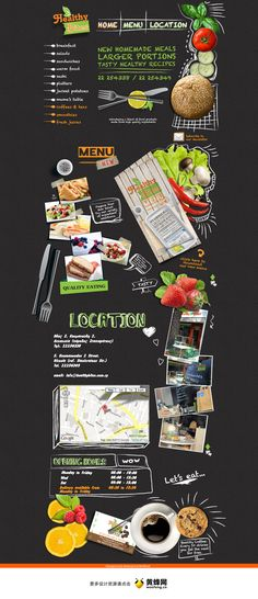 Very playful layout and design for healthy food Food Web Design, Menu Design, App Design, Layout Design, Banner Design, Design Ideas, Branding, Pag Web, Gui Interface