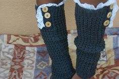 Boot Socks Boot Cuff Leg Warmers With Eyelet Trim and Vintage Button. Sweater Leg warmers Gray.. $35.00, via Etsy.