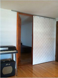 Quilted Sound Blocking Curtain on Roller Track
