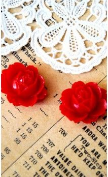 Lot de 2 Fleurs 16 mm couleur rouge pour bijoux et scrapbooking