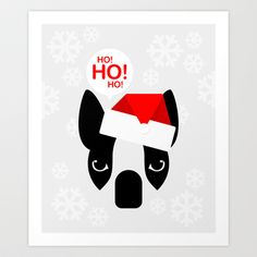 Santa Boston Terrier Art Print by Lulo The Boston Terrier - $19.99