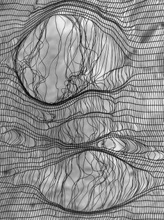 re pinned from Heidi Tyrvainen's Transparent board, using textiles to create a fine/ loose knit that reminds me of my messy knitting as a child. Relating to my theme and adding inspiration to my thought on my final outcome. Textile Texture, Textile Art, Textiles, Zentangle, Fabric Manipulation, Textures Patterns, Fabric Textures, Line Art, Illustration