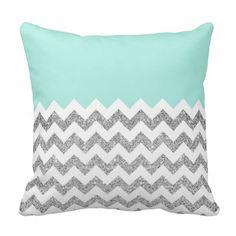 Mint and Silver Faux Glitter Chevron Throw Pillows #pillow #throwpillow #homedecor