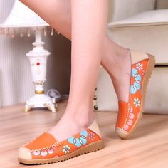 Floral Soft Comfortable Leather Slip On Flat Shoes