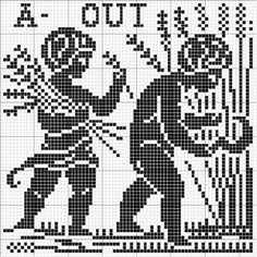 Month 08 | Free chart for cross-stitch, filet crochet | Chart for pattern - Gráfico