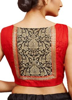 Red Raw Silk Designer Blouse - A simplified form of our logo or crest could be used here Simple Blouse Designs, Stylish Blouse Design, Designer Blouse Patterns, Fancy Blouse Designs, Saree Blouse Neck Designs, Skirt Patterns, Coat Patterns, Sewing Patterns, Saree Blouse Patterns