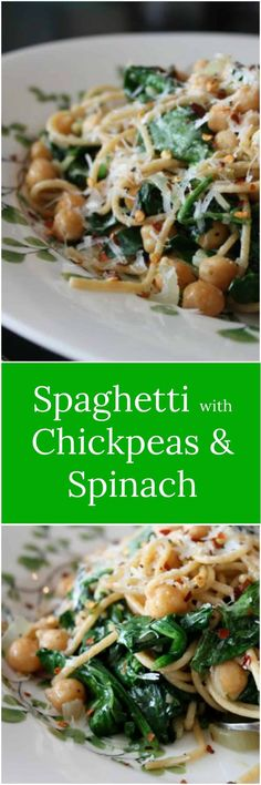 You will never miss the meat in the vegetarian pasta dish. Whole Wheat Spaghetti with Sauteed Chickpeas and Spinach is hearty, healthy and delicious! via @aggieskitchen