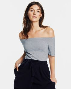 We're still loving off shoulder silhouettes: this one has a pretty mini stripe.