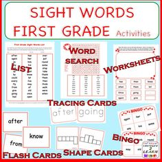 This GRADE 1 Sight Word list, Flash Cards, BINGO, Tracing Cards, Sequencing Sentences and more, give students a brilliant start for being a successful reader.