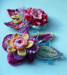 crochet & felt flower pins by Elena Fiore