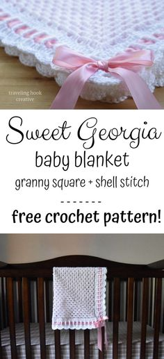 Free crochet pattern for heirloom baby blanket using granny square and shell sti. Free crochet pattern for heirloom baby blanket using granny square and shell stitch with ribbon and Crochet Blanket Edging, Crochet Baby Blanket Free Pattern, Afghan Crochet Patterns, Baby Patterns, Free Crochet, Irish Crochet, Crochet Stitches, Knitting Patterns, Blanket Stitch