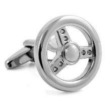 Car Steering Wheel Silver Cufflinks Rhodium Plated