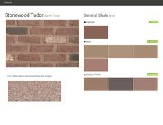 Stonewood Tudor. Earth Tone. Brick. General Shale. Olympic. Behr. Valspar Paint.  Click the gray Visit button to see the matching paint names.