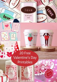 These free valentines day printables are so cute and fun! There are choices ranging from cup wrappers to goodie bags to standard valentines. Great for kids, for him, and for her.