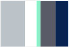 Living Room colour palette with grey walls, white trim, slate Roman blinds, navy and mint accents