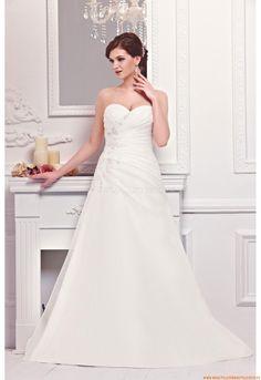 Herz-neck A-linie Bodenlang Elegante Brautkleider 2014 aus Organza