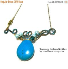 End of Year Sale Artistic Necklace Turquoise by LunaEssence
