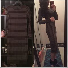 Forever 21 MIDI dress -Olive green w black stripes Forever 21 MIDI dress. Olive green w black stripes. Never worn. Super comfortable and very soft. Stretchy material hugs your body in all of the right places! Perfect for fall or winter layering! Forever 21 Dresses Midi