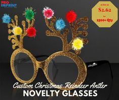 Custom Christmas Reindeer Antler Novelty Glasses have a total size of 6 Reindeer Antlers, Santa And Reindeer, Unique Christmas Gifts, Christmas Ornaments, Christmas 2019, Party Gifts, Glasses, Eyewear, Eyeglasses