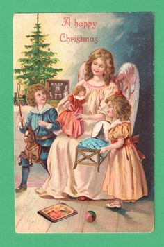 1910 Christmas Postcard Angel Doll Children Toys Tree | eBay