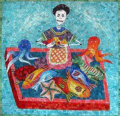 Day of the Dead Market Lady  Mexican Smalti & Italian Millefiori on Board.    77cm x 76.5cm. £1200.00