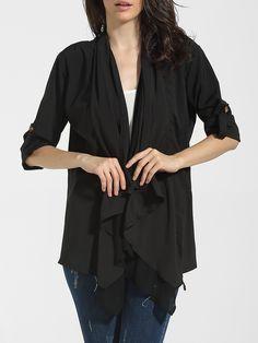 Asymmetrical Hems Collarless Chiffon Plain Trench-coats