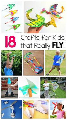 18 Crafts for Kids that Can Really Fly! Including paper airplanes, pinwheels, helicopters, kites, and more! (Fun for kids who love STEM and design activities!)  #stem #steam #science #craftsforkids #outdoorplay #summercrafts #scienceprojects