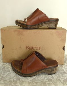 Born Hanita leather Boho Thong Sandals Whiskey Brown Summer Party Cute #Brn #HeeledThong #Casual
