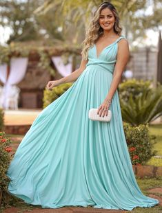A-Line Chiffon Sleeveless Floor-Length With Ruched Dresses on Storenvy Vestidos Verde Tiffany, The Dress, Dress For You, Short Dresses, Formal Dresses, Ruched Dress, Formal Prom, Flare Dress, Homecoming Dresses