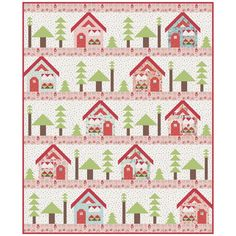 To Grandma's House Quilt Kit by Riley Blake Designs, featuring Little Red in the Woods by Jill Howarth. Pattern by Kelly Fannin Number: Date: December Descripton: The Grandma's House Quilt Kit includes pattern and fabric for quilt top and binding. Backing House Quilt Patterns, House Quilt Block, Quilt Blocks, Sewing Patterns, 24 Blocks, Cute Quilts, Mini Quilts, Bed Quilts, Strip Quilts