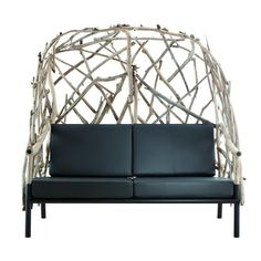 Wingback Chair OUTLINE (L) Settee, Wingback Chair, Bleu Nature, Porch Swing, Outdoor Furniture, Outdoor Decor, Outline, Black And White, Bed