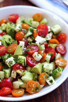 Summer Cucumber Tomato Avocado Healthy Salad - DIY