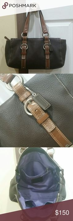 """Coach Leather Satchel Coach Chelsea Leather Zip Satchel in Dark Brown and Brown with Silver hardware and Purple inner liner. 13""""L x 7""""H x 5.5""""W - 18"""" straps with 8"""" drop.  Little to no wear, very good condition. 100% authentic! Coach Bags Satchels"""