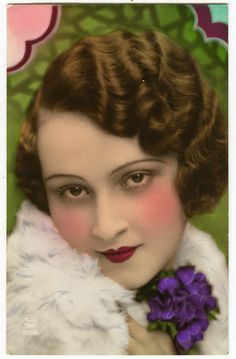 1930s French Very Deco BEAUTIFUL LADY tinted photo postcard