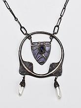 Theodor Fahrner - Jugendstil - Plique-a-Jour Enamel Sterling Silver Necklace