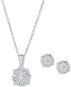 "Macy's - 2-Pc. Diamond (1 ct. t.w.) Halo 18"" Pendant Necklace & Matching Stud Earring Set in 14k Gold Ring Watch, Wedding Bracelet, Earring Set, Halo, Jewelry Rings, Pendant Necklace, Engagement, Diamond, Mafia"