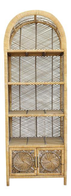 Vintage Bamboo & Rattan Etagere Bookshelf on Chairish.com