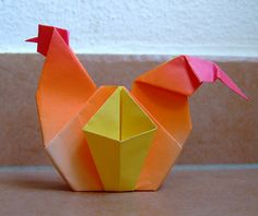 origami rooster with basket