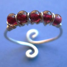Adjustable Reversible Wire Wrapped Purple Garnet and Sterling Silver Ring