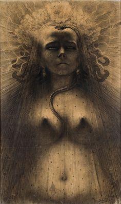 Jean Delville (1867-1953)  L'Idole de la perversité, 1891  Pierre noire sur papier - 81,5 x 48,5 cm  Collection Privée