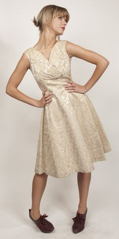 50s champagne embossed brocade cocktail dress