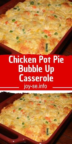 Chicken Pot Pie Bubble Up Casserole Okay, now I'm in trouble as I want this right now. We LOVE the enchilada bubble and pizza bubble casseroles. Chicken Pot Pie Casserole, Casserole Dishes, Casserole Recipes, Chicken Pot Pie Recipe For A Crowd, Chicken Pot Pie Recipe Crescent Rolls, Easy Pot Pie Recipe, Chicken Pop Pie, Chicken Pot Pie Recipe With Biscuits, Recipes For Leftover Chicken