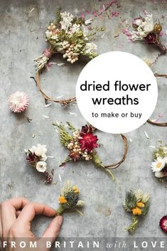 Mini Wreath Love botanical tales dried flower wreaths and botanical craft ideas. Seasonal Flowers, Real Flowers, Diy Flowers, Spring Flowers, Flower Decorations, How To Dry Flowers, Fabric Flowers, Dried Flower Wreaths, Corona Floral