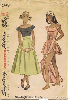 Simplicity 2449 ©1948 Play Suit and Skirt