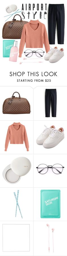 """""""Airport Style"""" by esterina ❤ liked on Polyvore featuring Louis Vuitton, J.Crew, lilah b., France Luxe, Saturday Skin, Menu, Urbanears and airportstyle"""