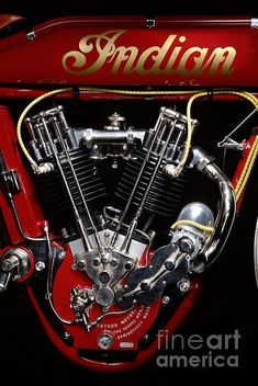 Indian 8-valve Boardtrack Racer Engine Print By Frank Kletschkus